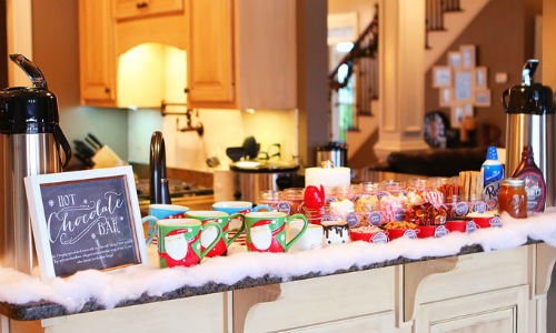 hot chocolate bar - winter birthday party ideas