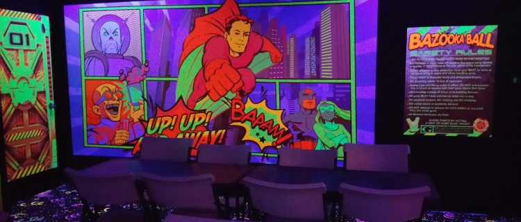 Bazooka Ball glow-in-the-dark arena at Kidnetix Brampton indoor playground.