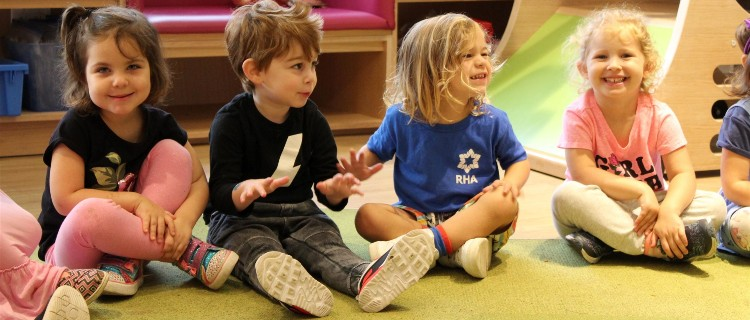 Children sitting on carpet in early years' class at Robbins Hebrew Academy