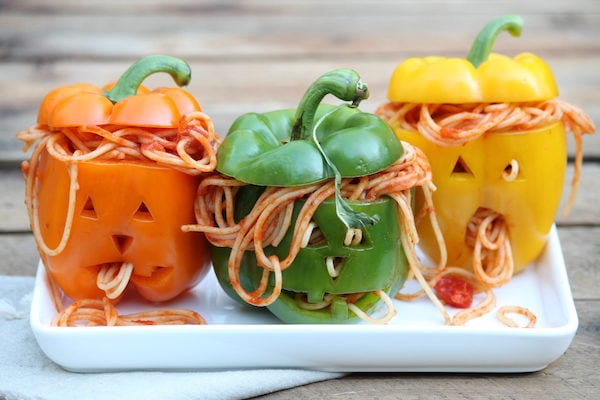 Halloween treats for kids: spaghetti stuffed pepeprs