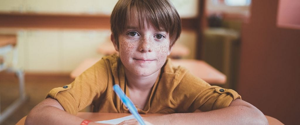 Portrait of smiling schoolboy with freckles in the classroom