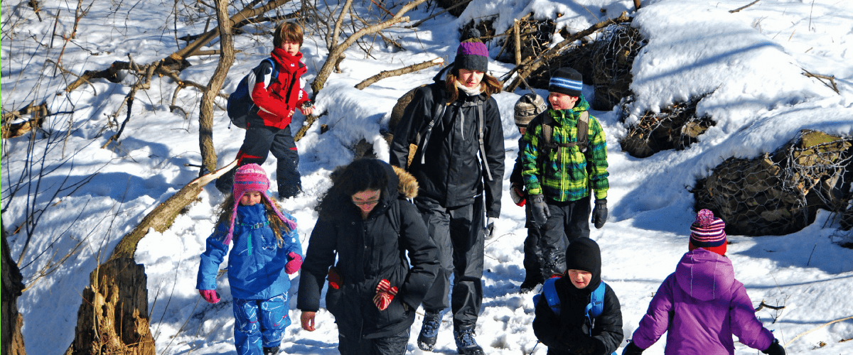 group of kids outdoors in snow at Evergreen Brick Works winter program